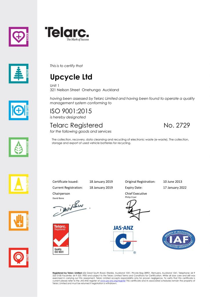 Upcycle Certificate ISO 9001 2019