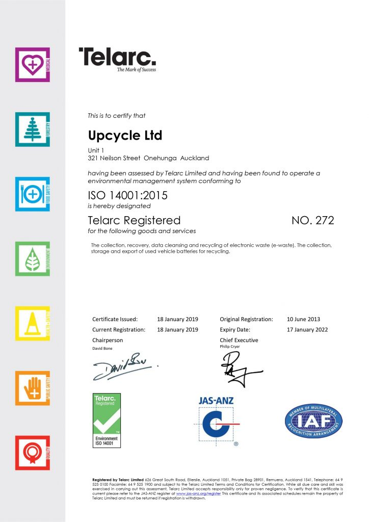 Upcycle Certificate ISO 14001 2019